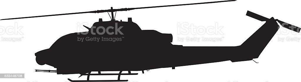 Helicopter silhouette vector art illustration