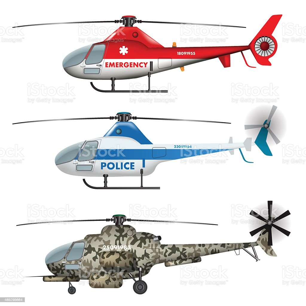 Helicopters collection vector art illustration