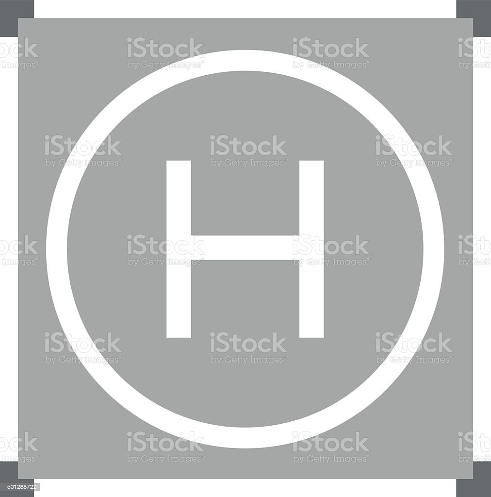 Helipad in gray color vector art illustration