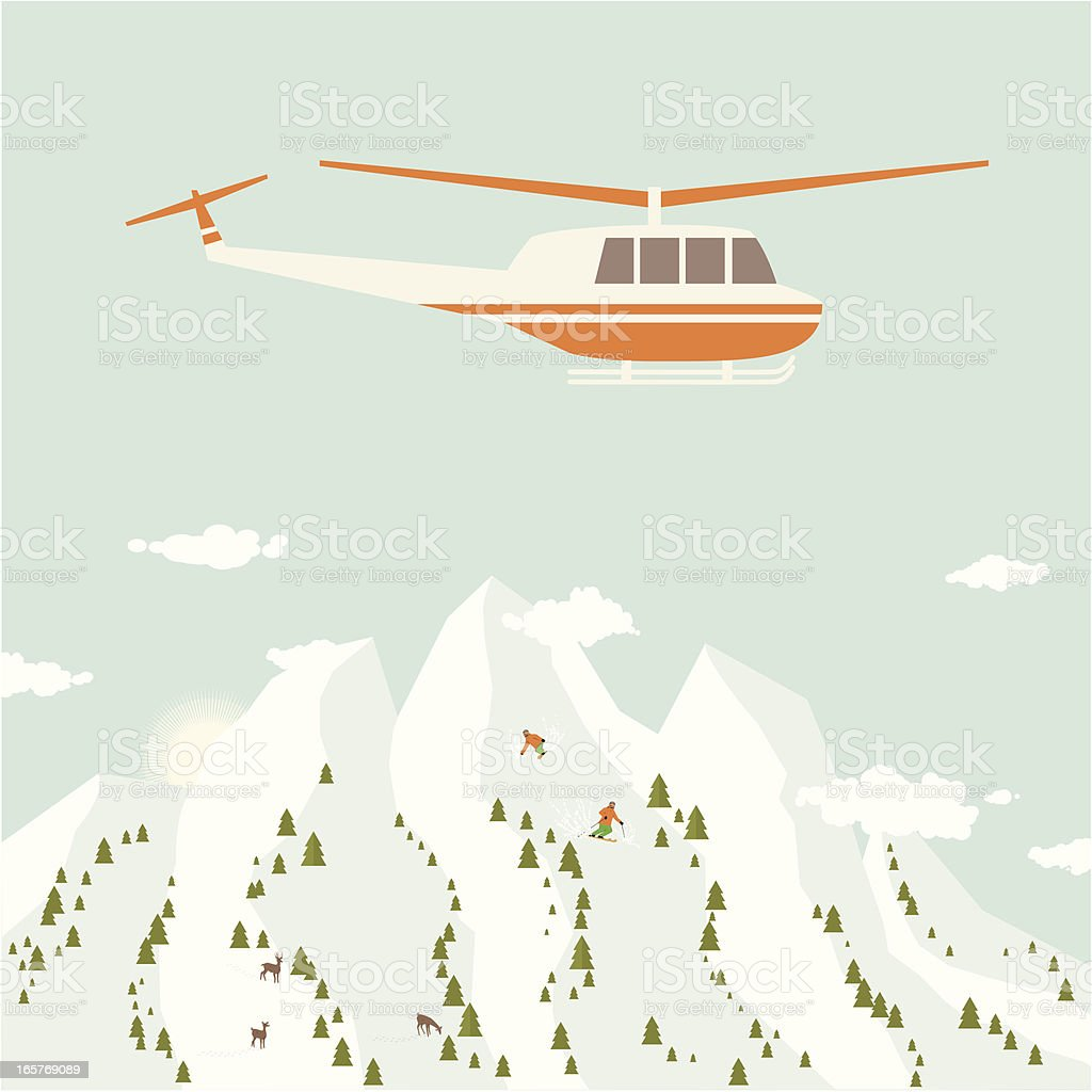 Heliskiing royalty-free stock vector art