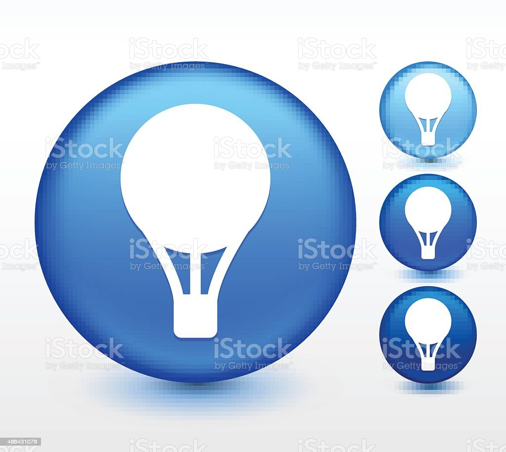 Helium Balloon on Blue Round Button vector art illustration