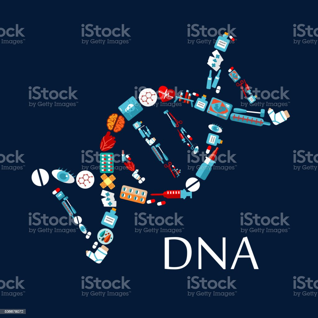 DNA helix from healthcare symbols flat icon vector art illustration