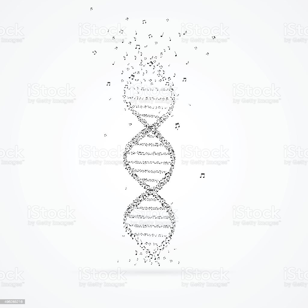 DNA helix made from tunes. vector art illustration