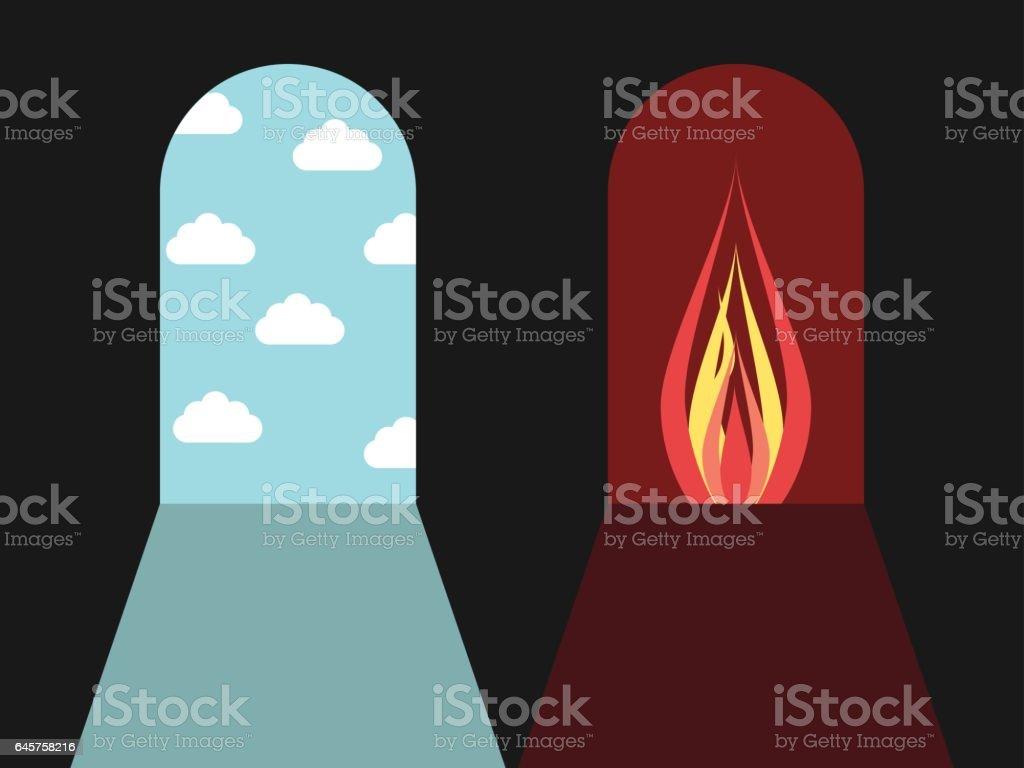 Hell and heaven doors vector art illustration