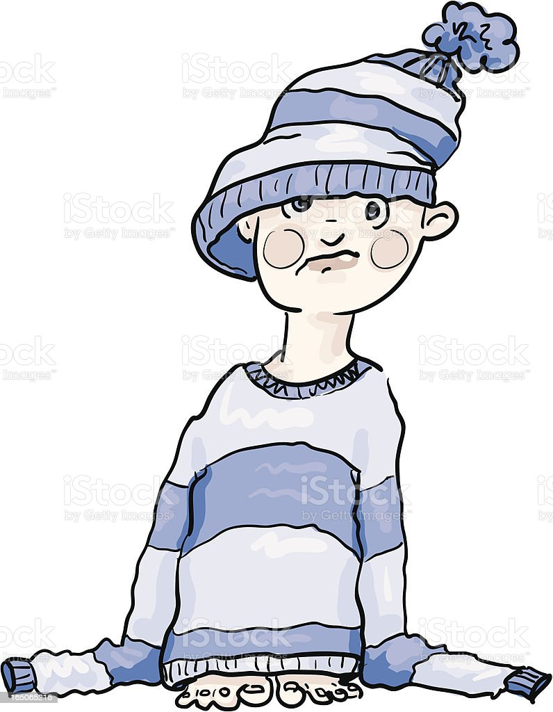 He'll Grow into it - boy in a woolly hat vector art illustration