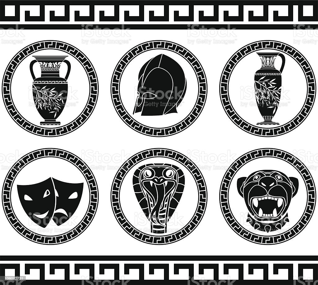 hellenic buttons royalty-free stock vector art