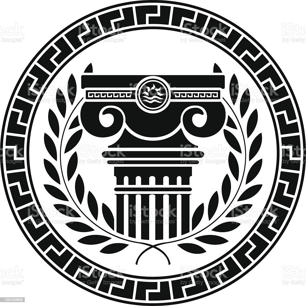 hellenic column and laurel wreath vector art illustration