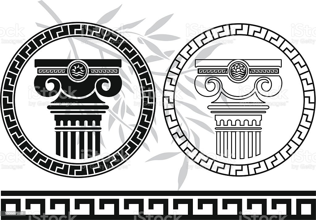 hellenic columns and olive branch. second variant royalty-free stock vector art