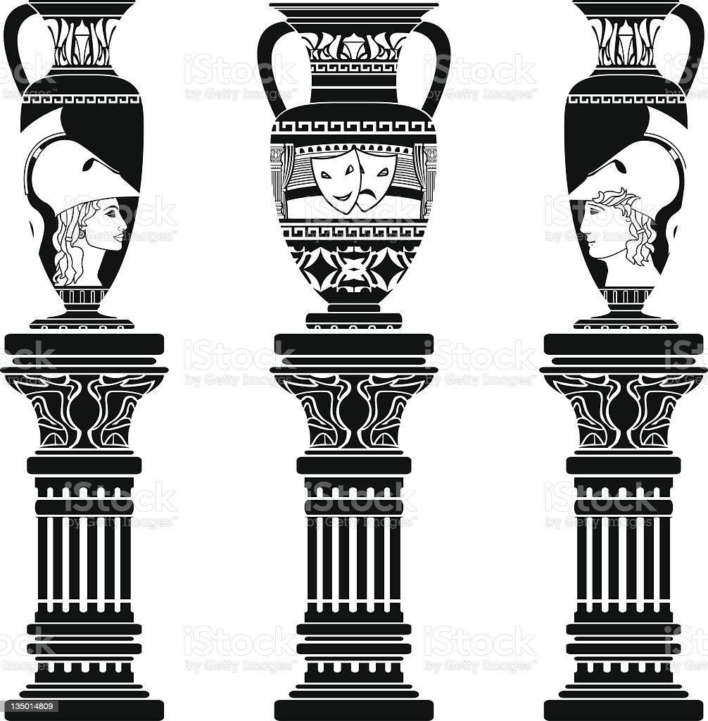 hellenic jugs with columns royalty-free stock vector art