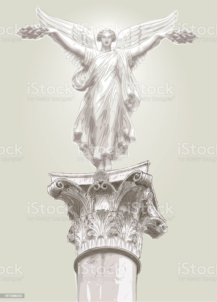 hellenistic statue insolated vector art illustration