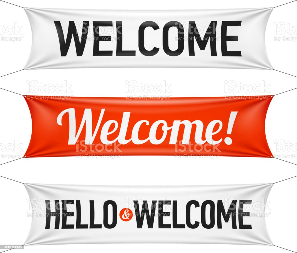 Hello and Welcome banners vector art illustration
