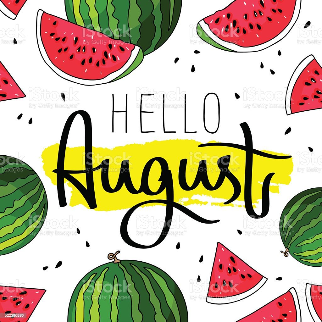 Hello August. Fashionable calligraphy vector art illustration