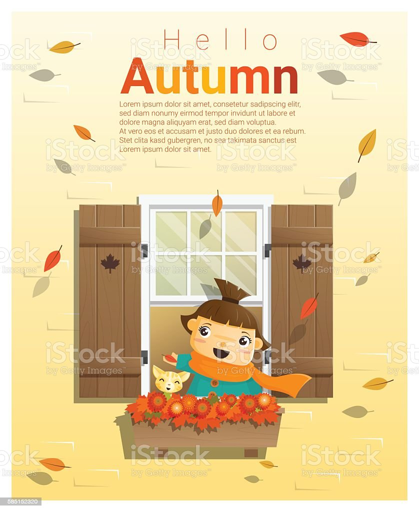 Hello autumn background with little girl 2 vector art illustration