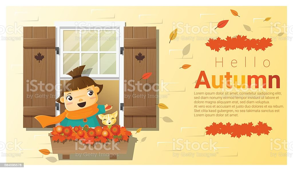 Hello autumn background with little girl vector art illustration