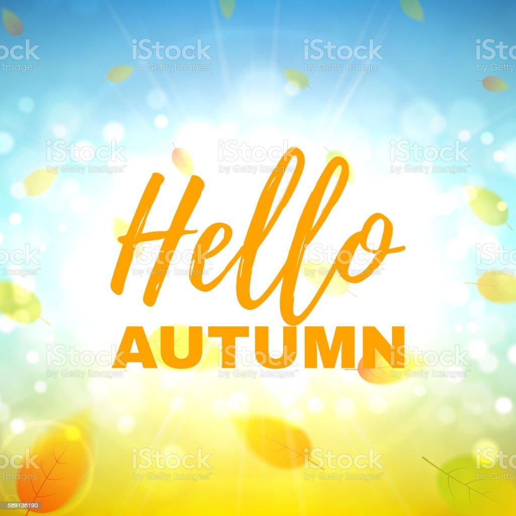 Hello autumn banner royalty-free stock vector art