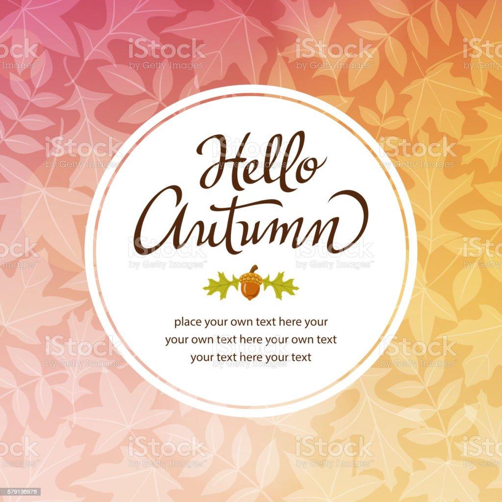 Hello Autumn Frame vector art illustration