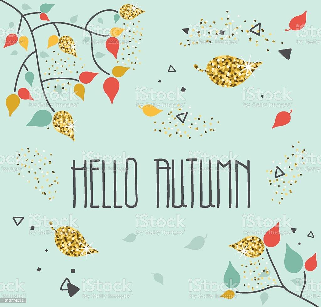 Hello Autumn Greeting Card vector art illustration