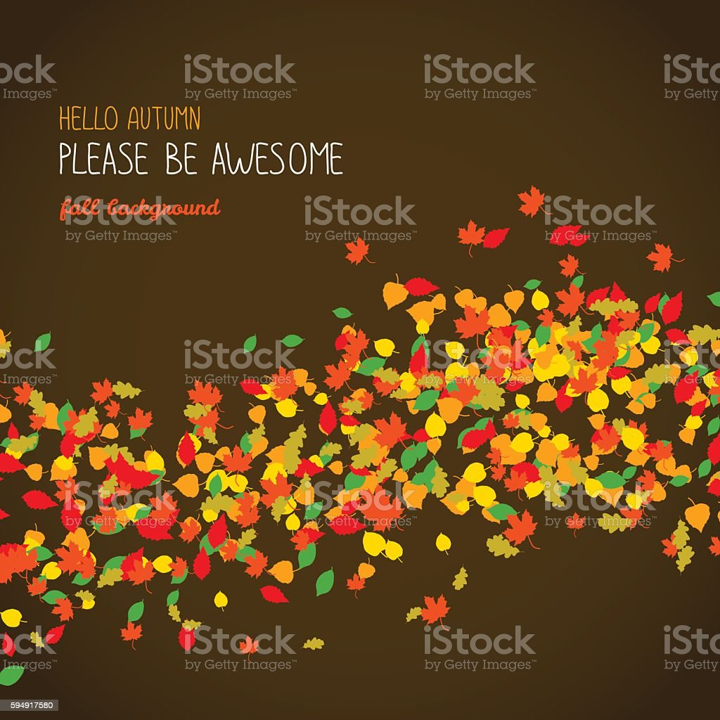 Hello Autumn. Please be Awesome. Poster or banner. vector art illustration