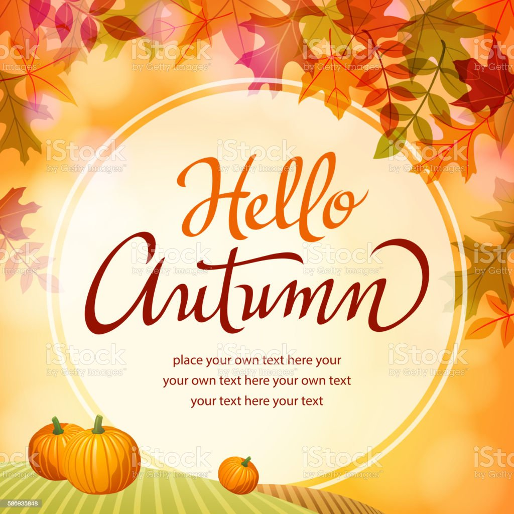 Hello Autumn with Pumpkins vector art illustration