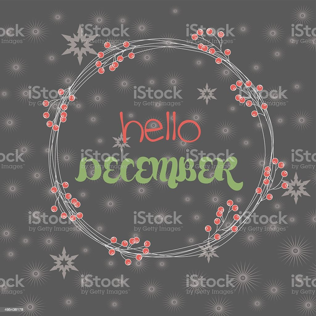 Hello december card vector art illustration