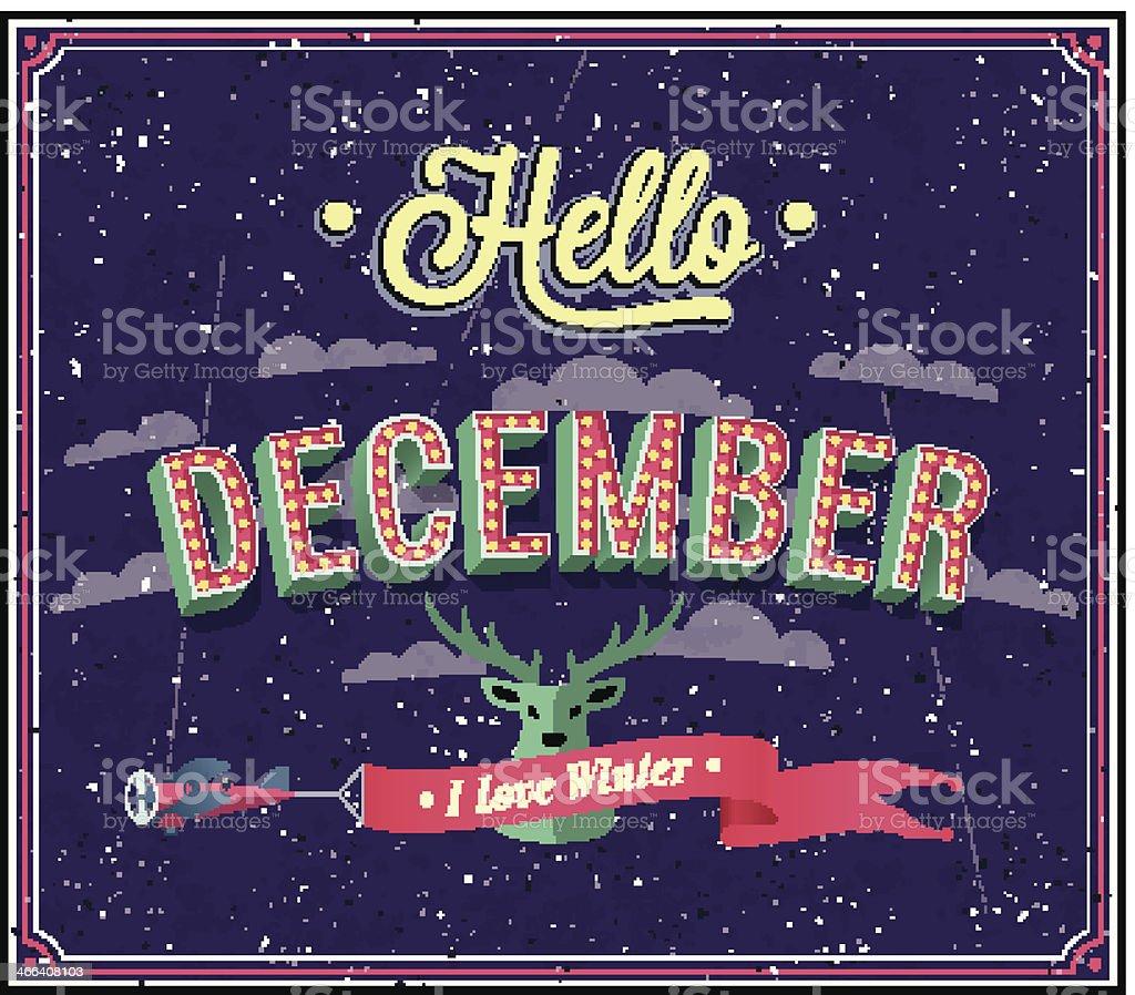 Hello december typographic design. vector art illustration