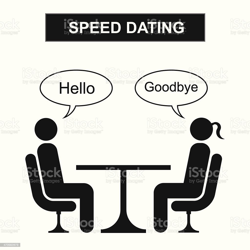 Hello goodbye Speed dating silhouette cartoon vector art illustration
