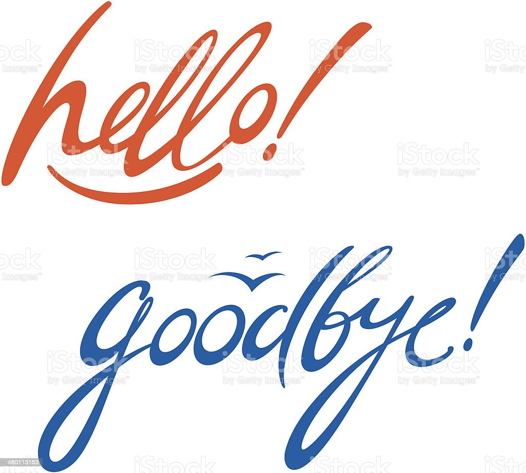 Hello goodbye vector art illustration
