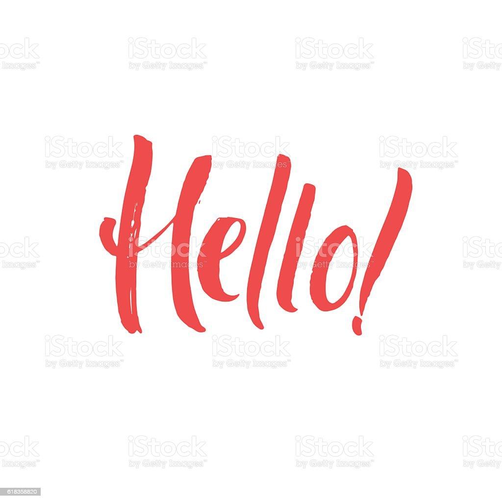 Hello hand written design custom lettering calligraphy