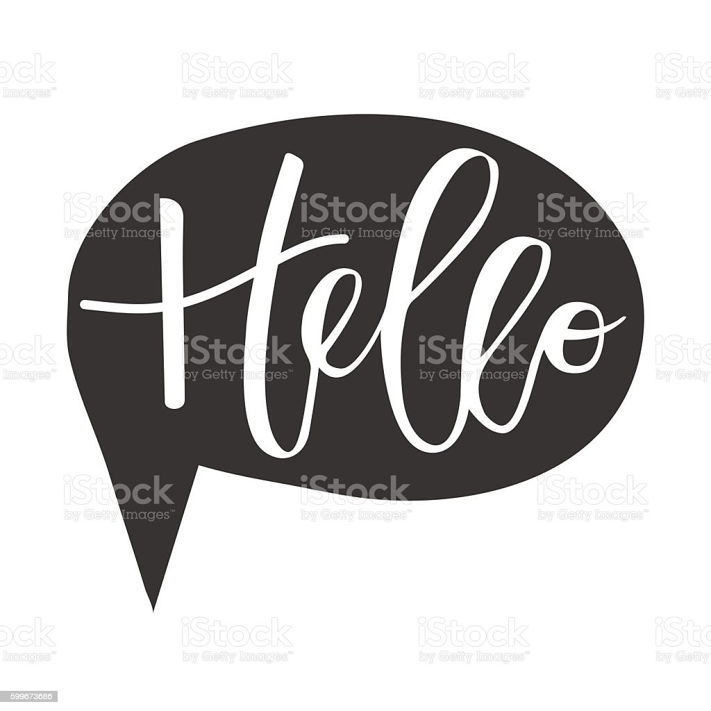 Hello hand written inscription vector art illustration