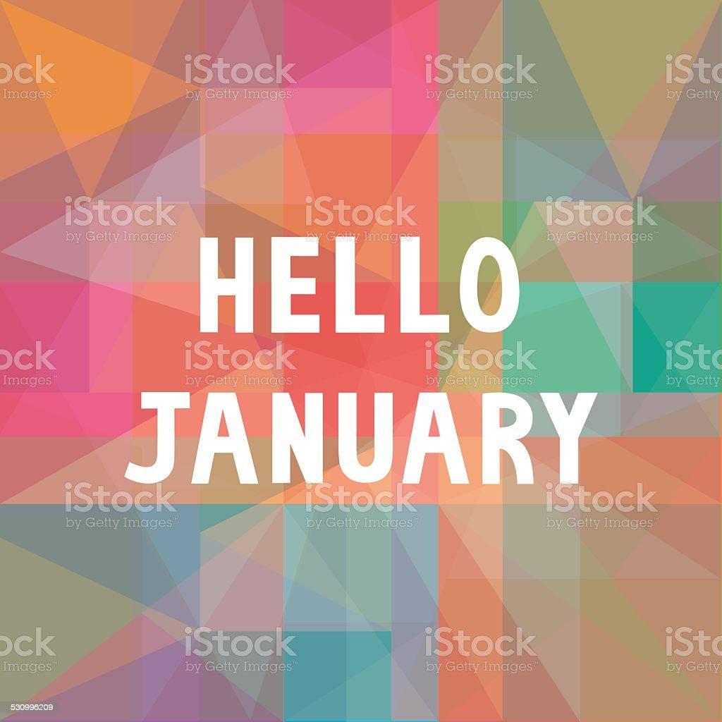 Hello January card1 vector art illustration