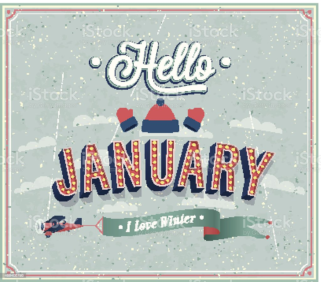 Hello january typographic design. vector art illustration