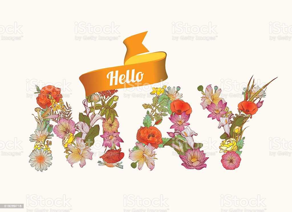 Hello june. Floral letters vector art illustration