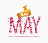 Hello May. Inscription of pink rose petals