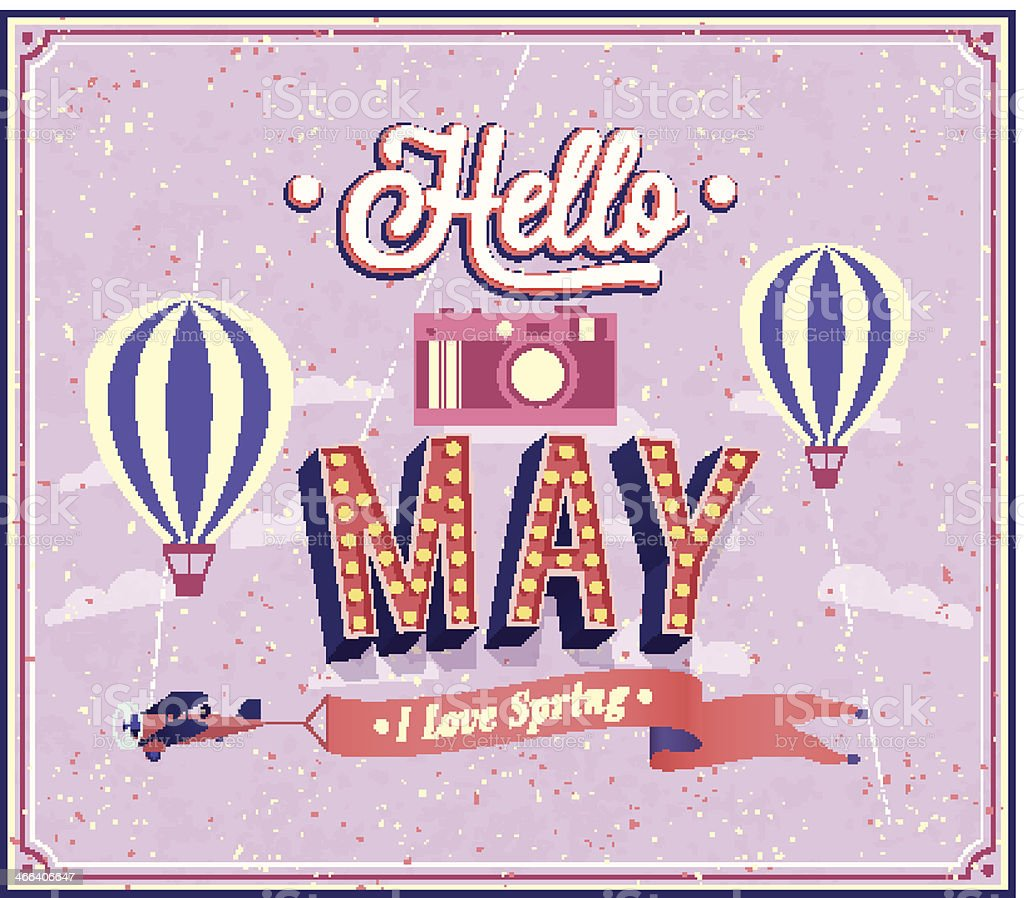 Hello may typographic design. vector art illustration