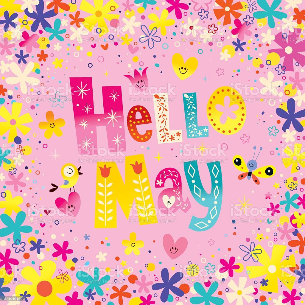 Hello May vector art illustration