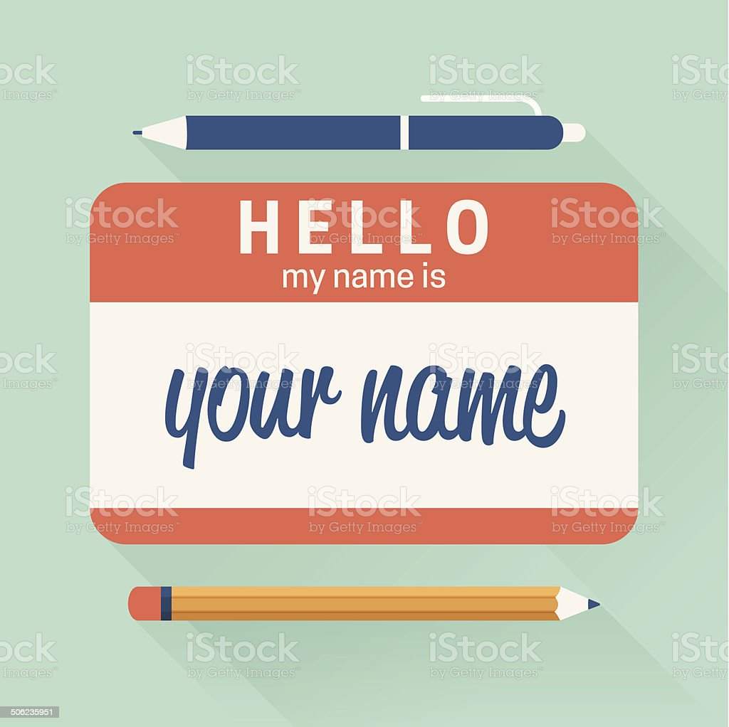 Hello My Name Is Badge vector art illustration