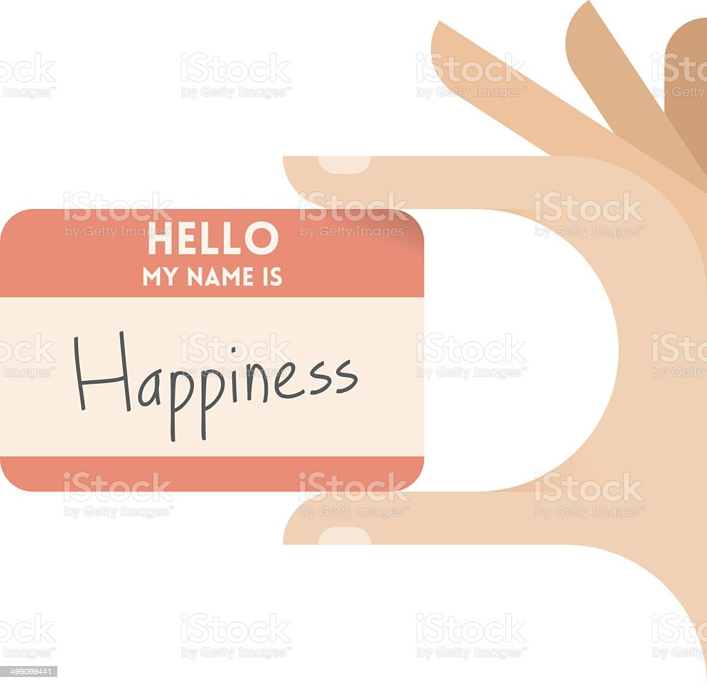 Hello my name is Happiness royalty-free stock vector art