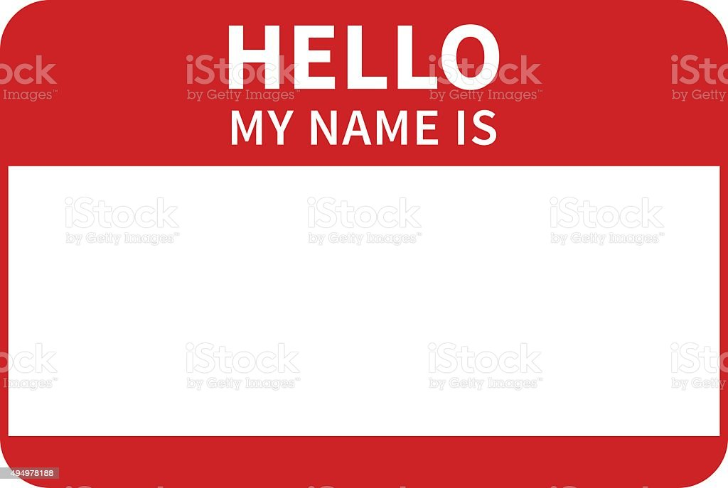 Hello, my name is introduction red flat label vector art illustration