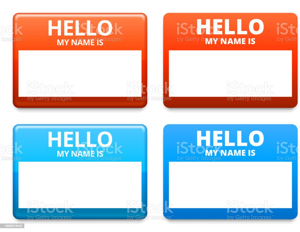 Hello My Name is Sticker Tag royalty-free stock vector art