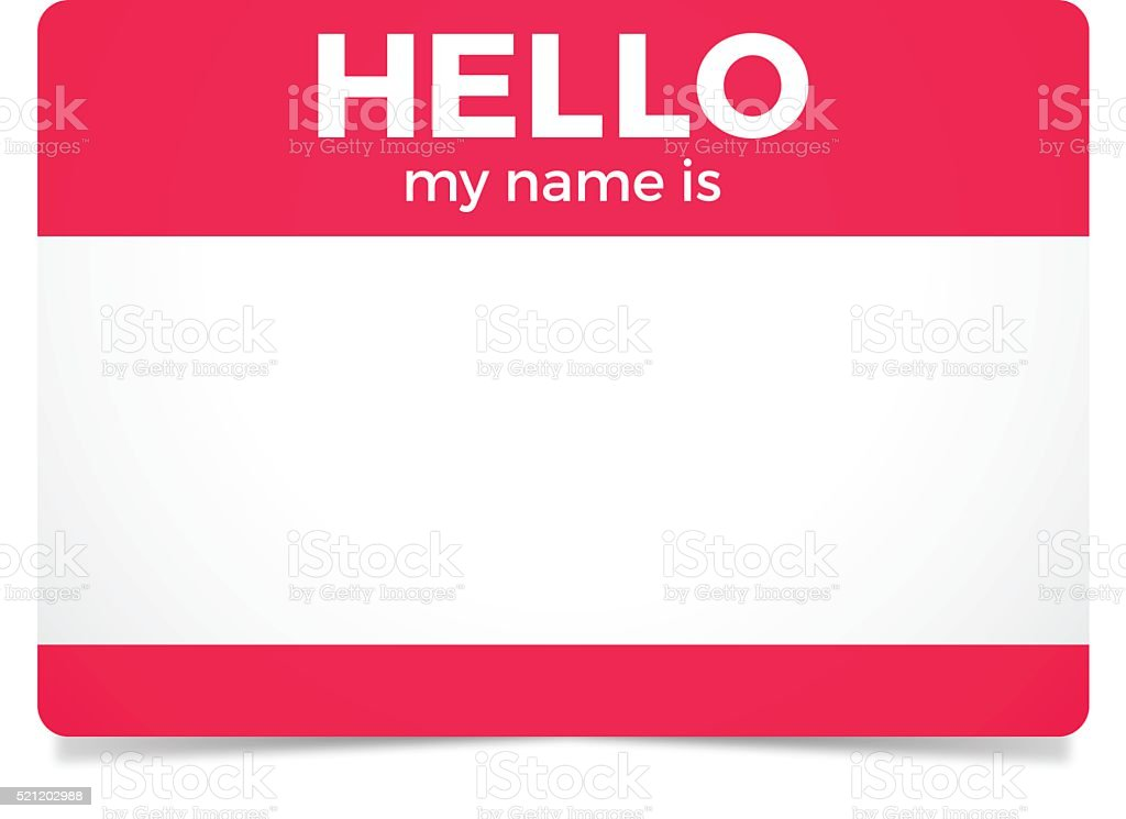 Hello My Name Is vector art illustration
