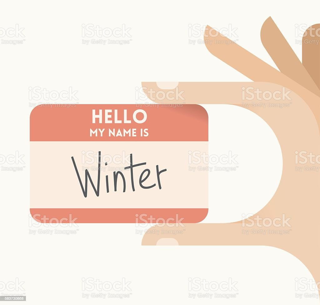 Hello! my name is Winter. Winter season concept. vector art illustration