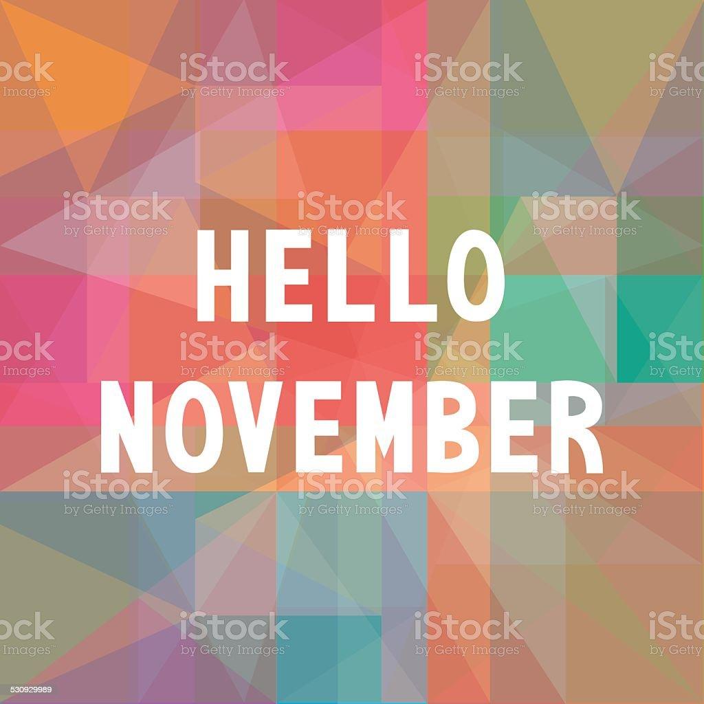 Hello November card1 vector art illustration