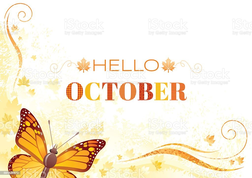 Hello October autumn background with butterfly vector art illustration