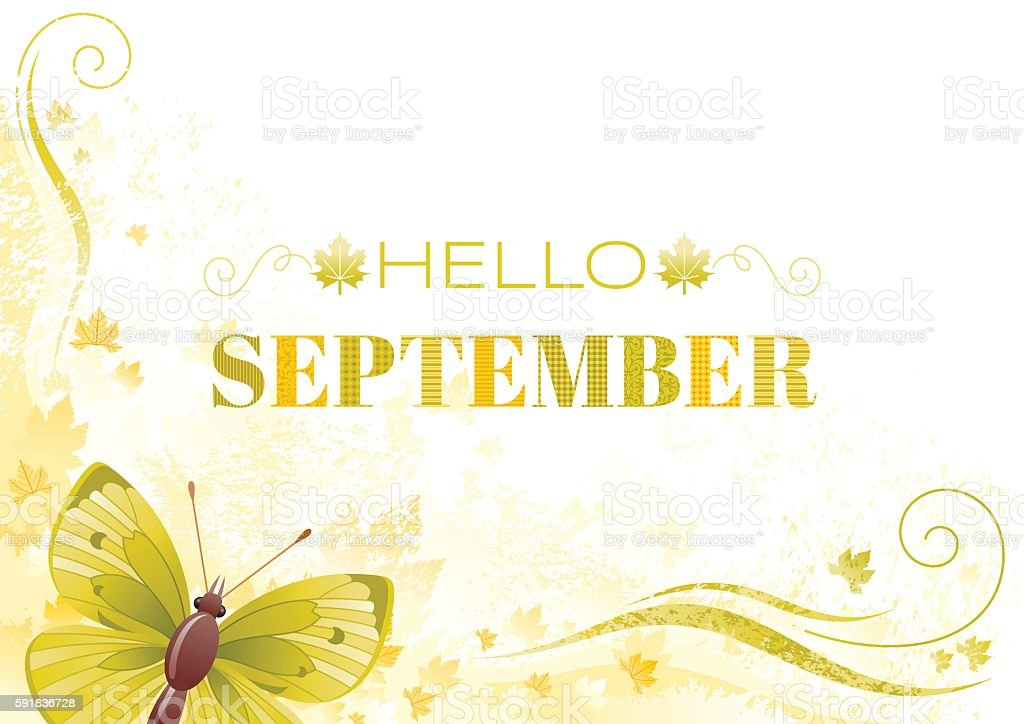 Hello September autumn background with butterfly vector art illustration