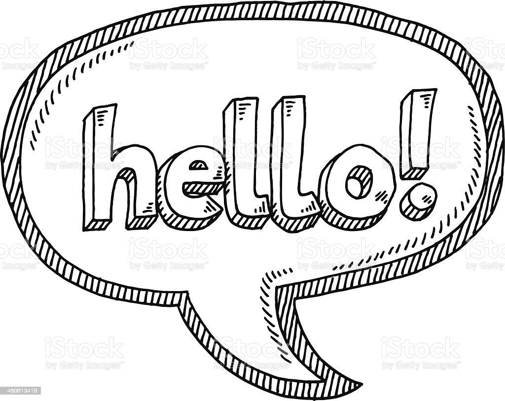 Hello! Speech Bubble Drawing vector art illustration