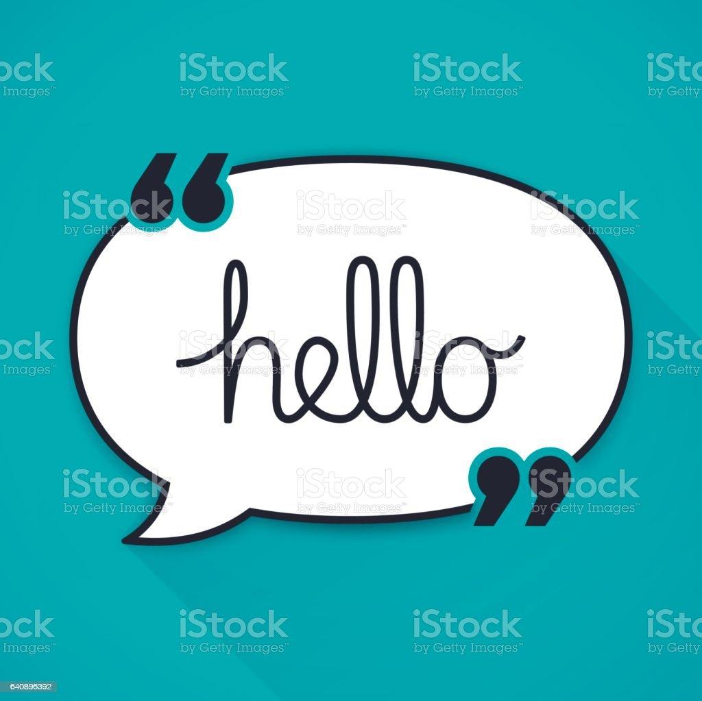 Hello Speech Bubble Quotation vector art illustration