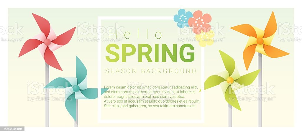 Hello spring background with colorful pinwheels 4 vector art illustration