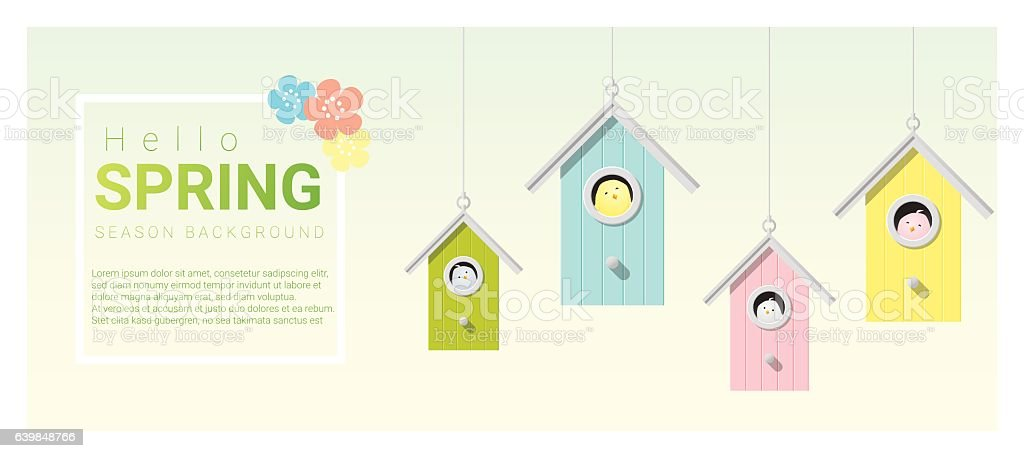 Hello spring background with little birds in birdhouses 6 vector art illustration