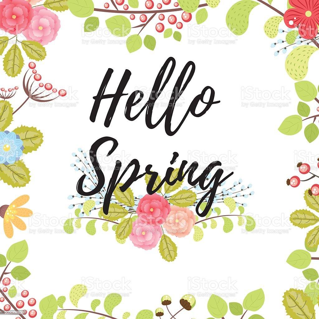 Bonjour carte de printemps stock vecteur libres de droits libre de droits