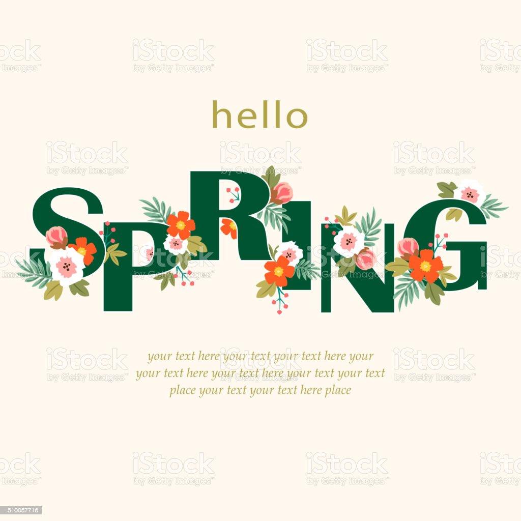 Hello spring floral vector art illustration